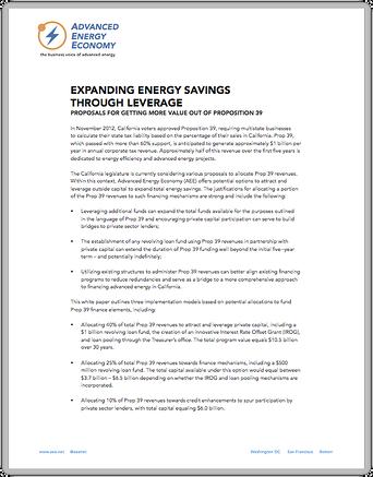 Expanding Energy Savings Through Leverage