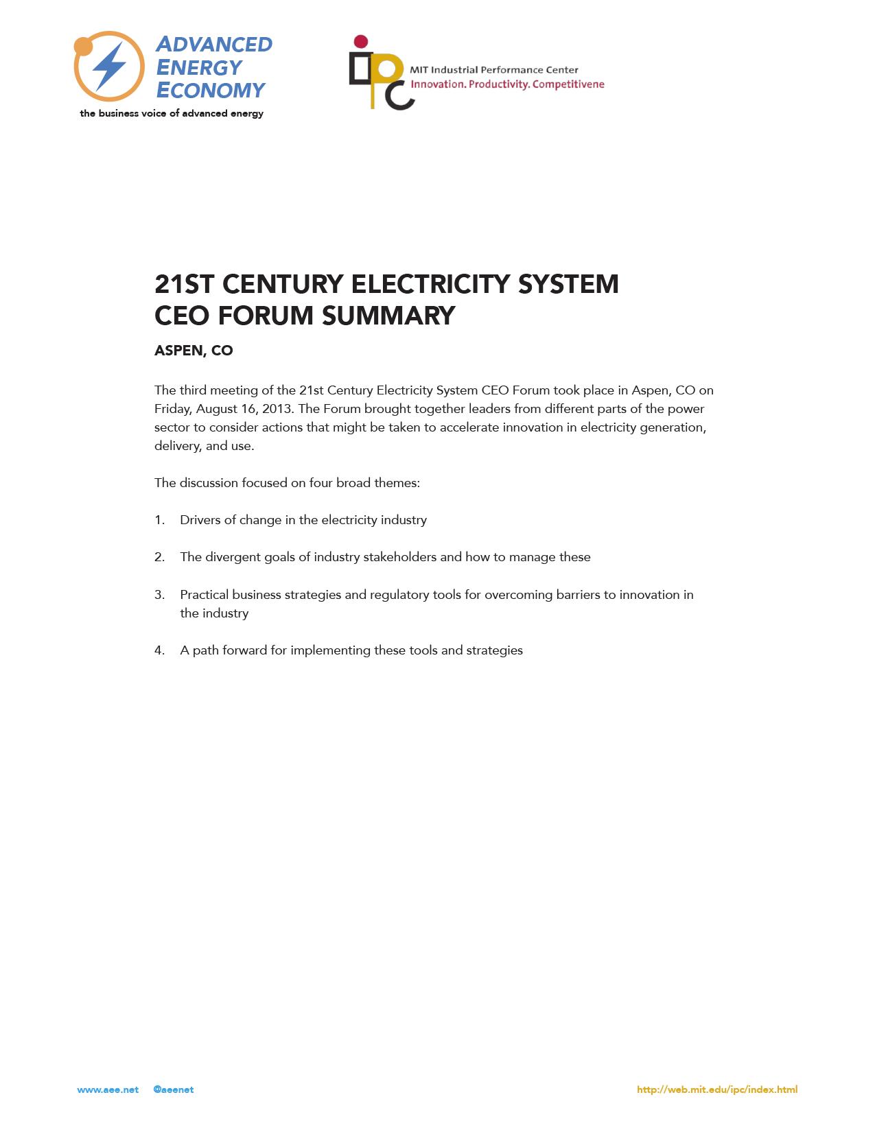 21st Century Electricity System CEO Forum - Aspen, CO
