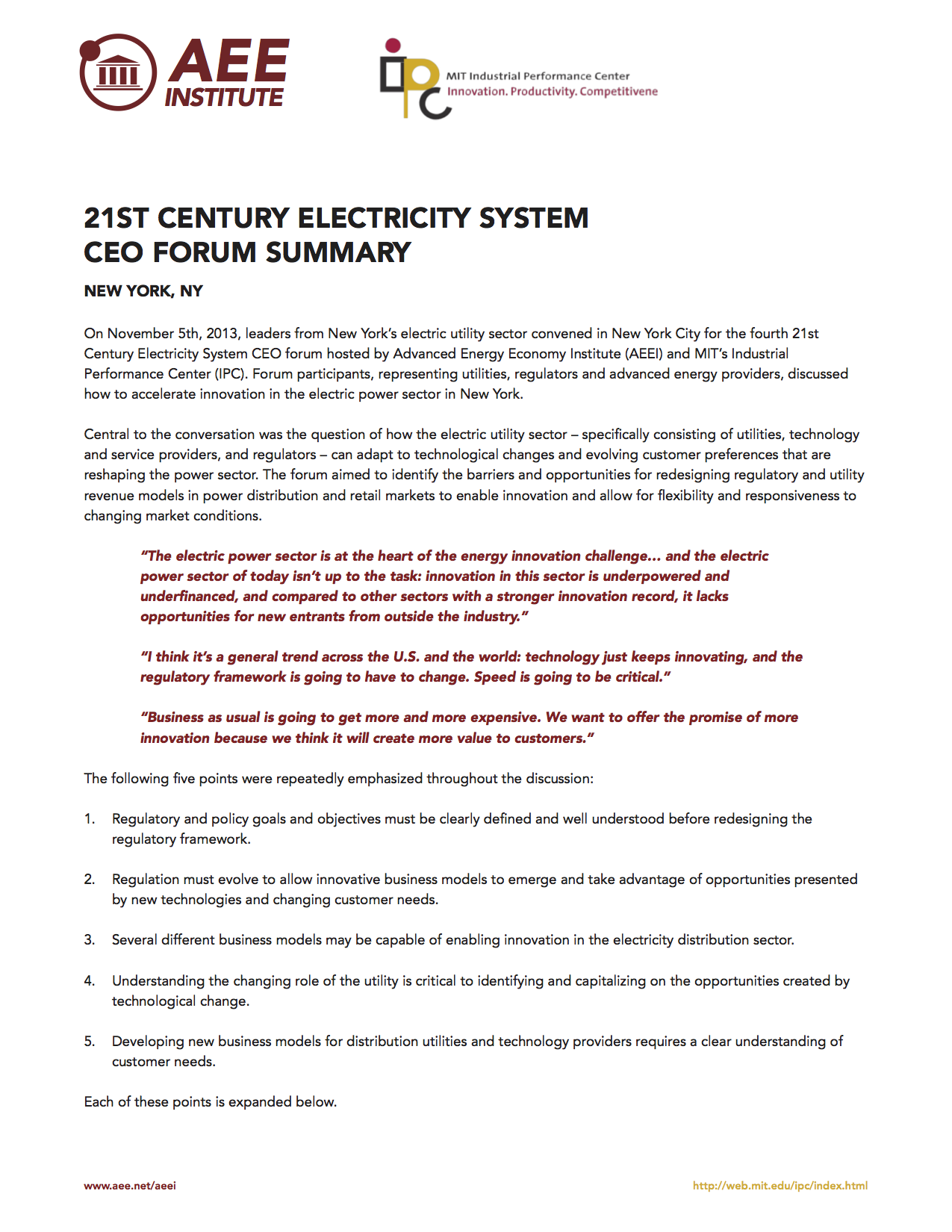 21st Century Electricity System CEO Forum - New York, NY