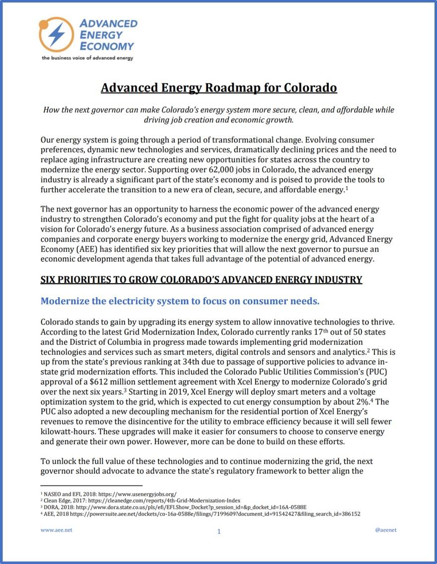 Advanced Energy Roadmap for Colorado