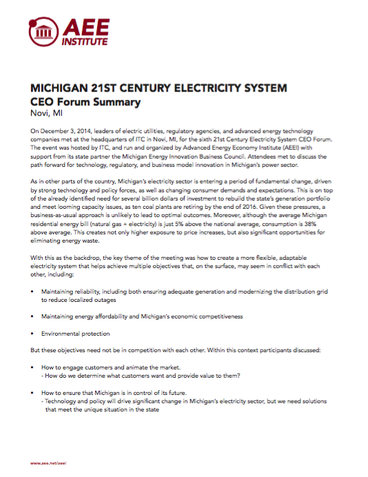 21st Century Electricity System CEO Forum - Michigan