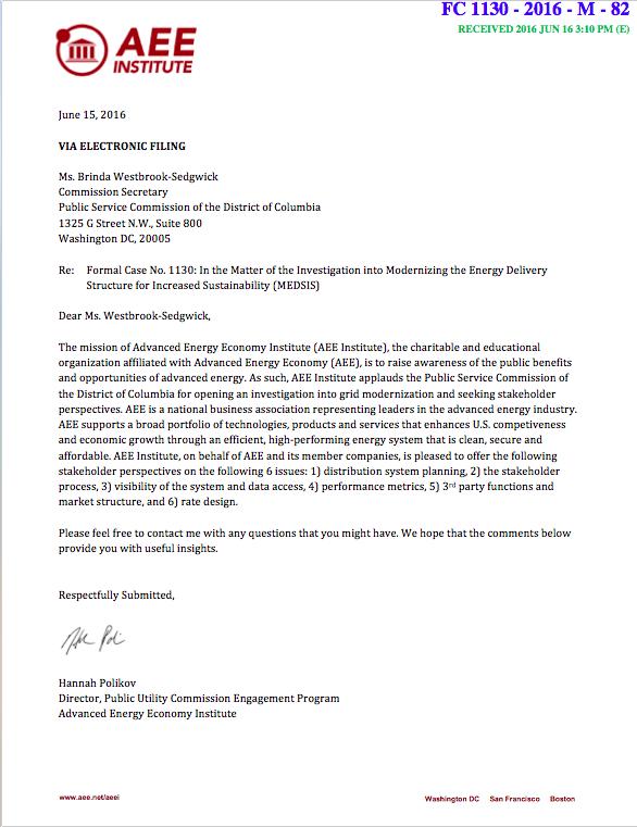 AEEI's comments on D.C. grid modernization