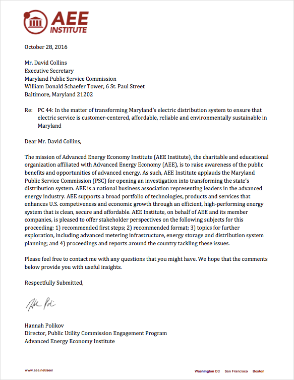 AEEI's comments about Maryland Grid Modernization