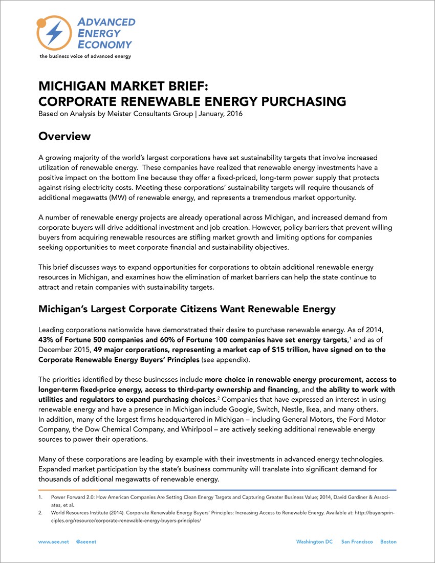 Corporate renewable energy purchasing in Michigan