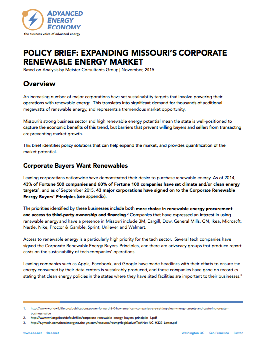 Expanding Missouri's Corporate Renewable Energy Market