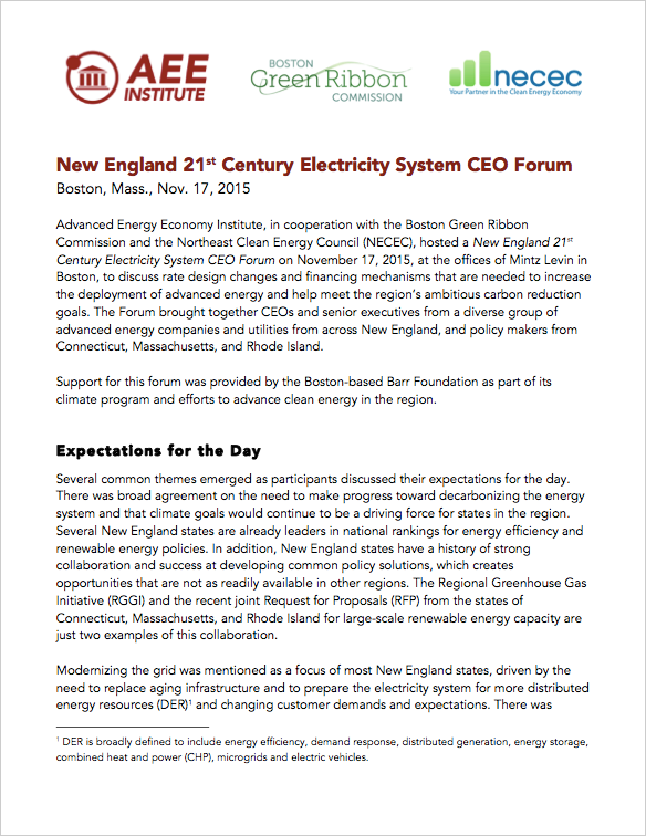 21st Century Electricity System CEO Forum - New England