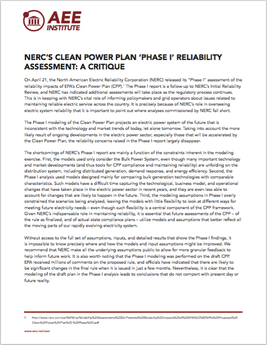 NERC's Clean Power Plan, Phase I Critique